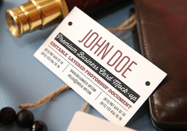 Business card mockup template on vintage travelling background