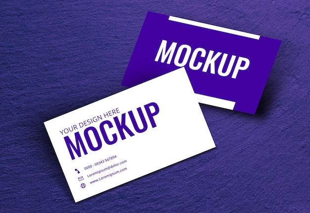 Business card mockup texture purple