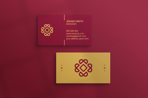 Business card mockup on textured paper