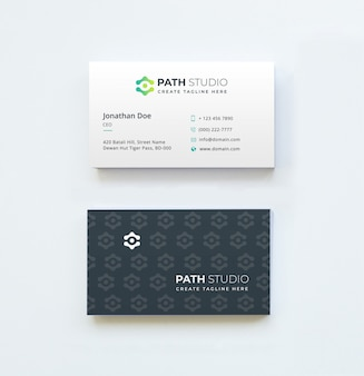 Business card mockup top view psd
