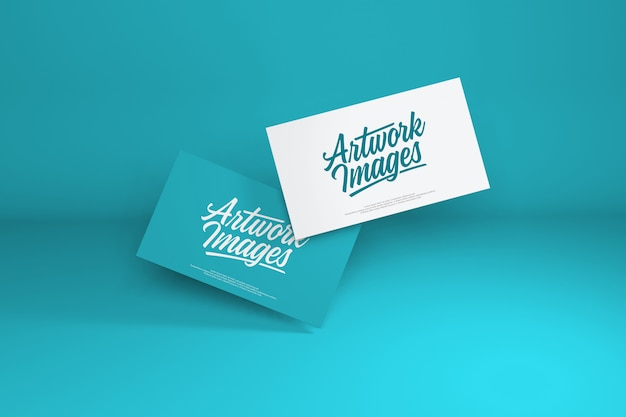 Business card mockup on turquoise color background