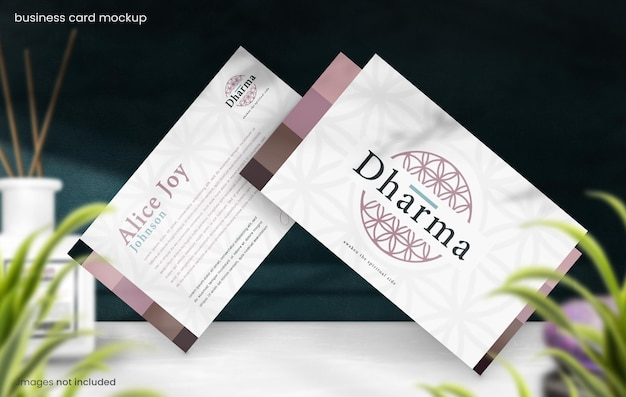Business card mockup of two business card for eastern spiritual branding concept
