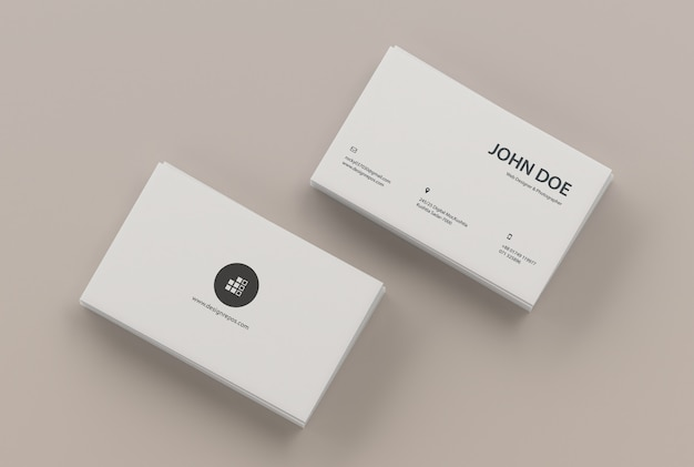 Business card mockup of two stacks