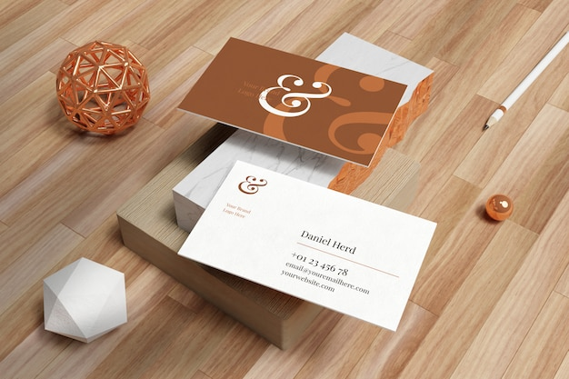Business card mockup in white marble and wooden floor