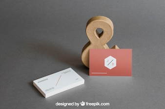 Business card mockup with ampersand