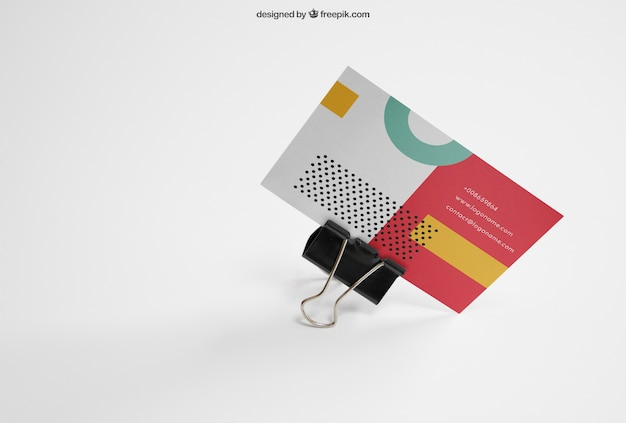 Business card mockup with clamp