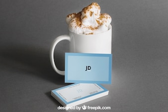 Business card mockup with coffee