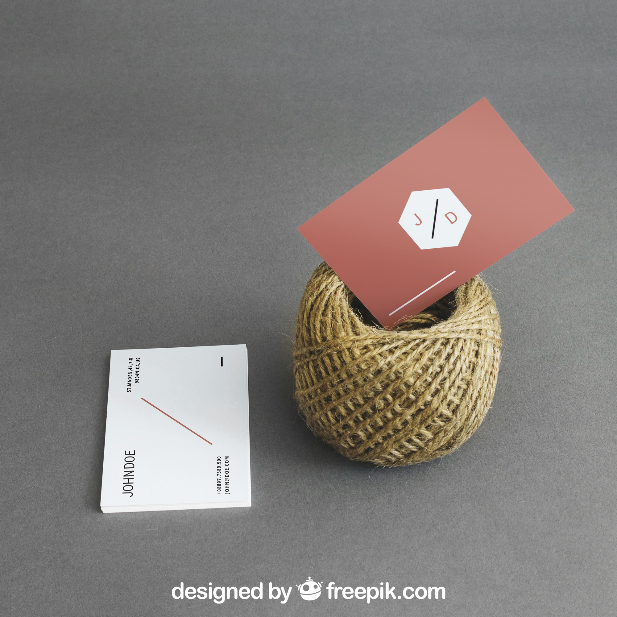 Business card mockup with cord