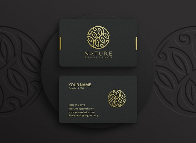 Business card mockup with embossed and debossed effect
