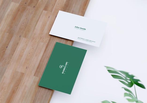 Макет визитной карточки с дизайном листвы