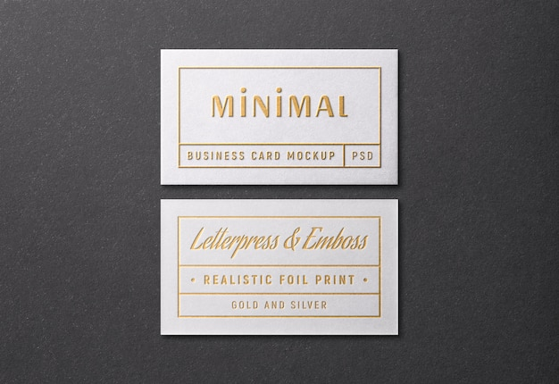 Business card mockup with gold and silver letterpress and emboss effect