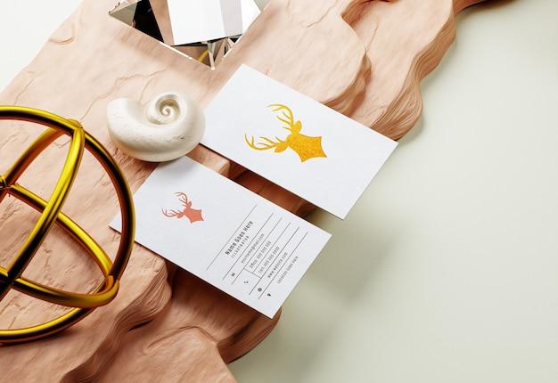 Business card mockup with golden letterpress