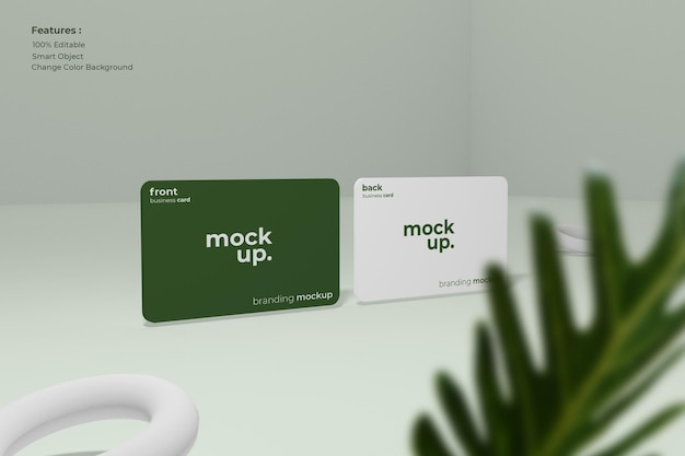 Business card mockup with leaves