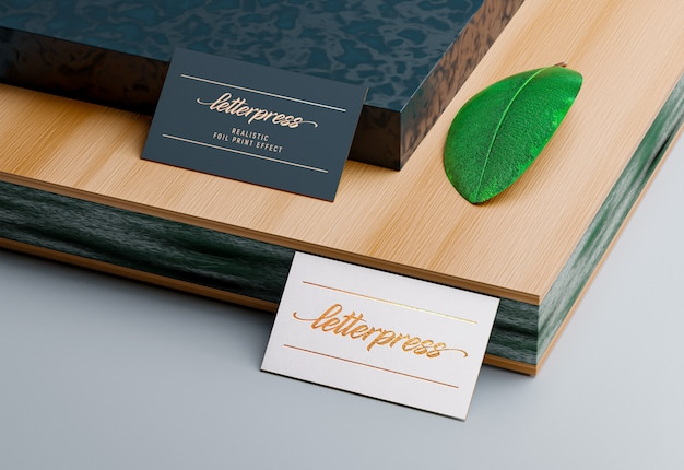 Business card mockup with letterpress