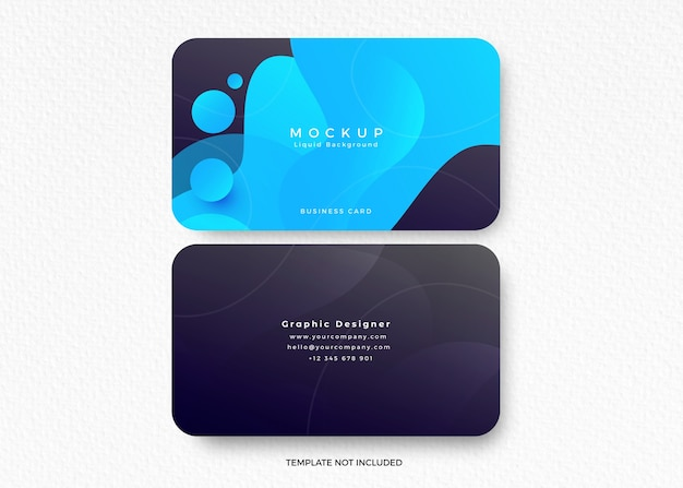 Business card mockup with liquid design