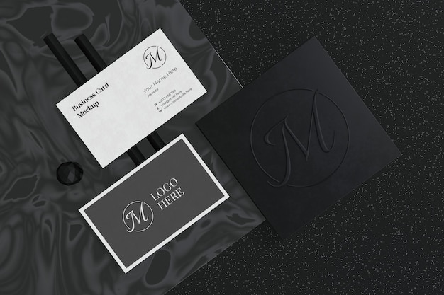 Business card mockup with logo branding showcase in 3d rendering