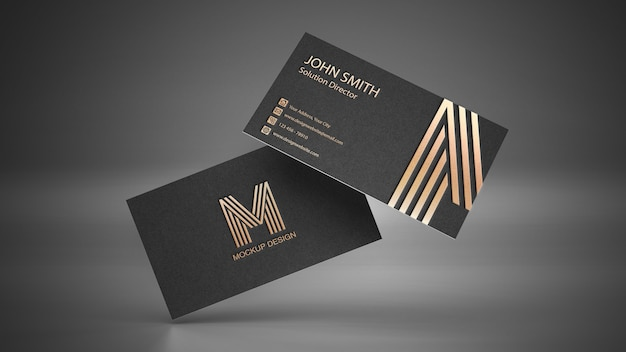 Business card mockup with logo on dark background