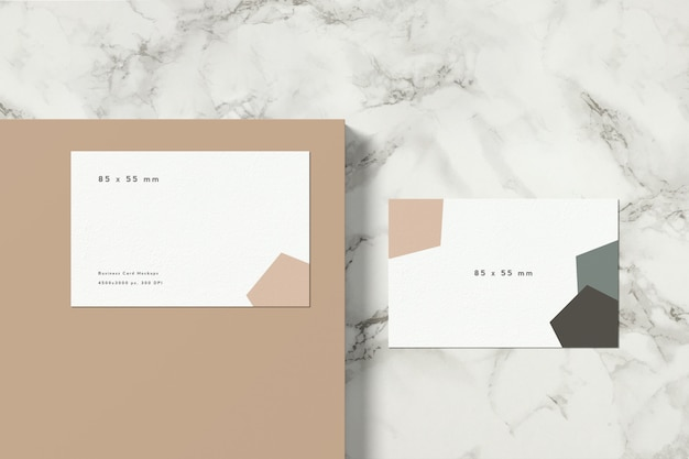 Business card mockup with marble