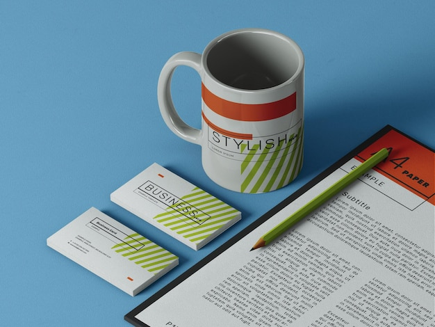 Business card mockup with a mug