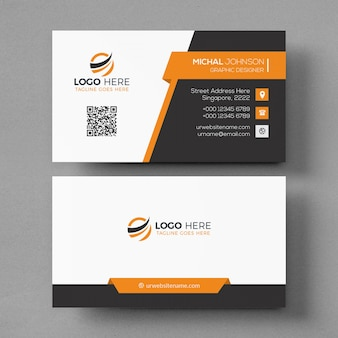 Business card mockup with orange elements