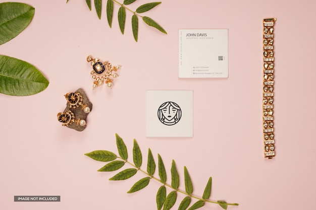Business card mockup with plant branches