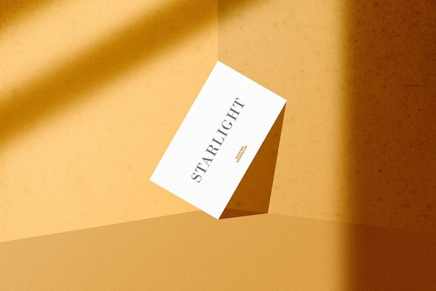 Business card mockup with shadow overlay