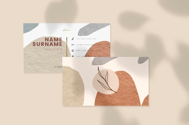 Business card mockup with shadows