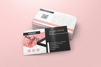 Business card mockup with stack