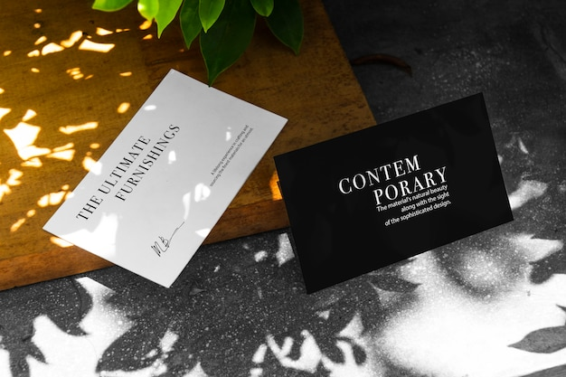 Business card mockup with sunlight