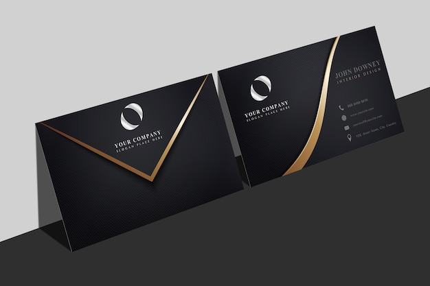 Business card mockup with wavy golden shape