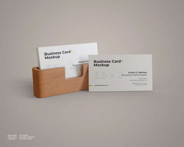 Business card mockup with wood holder