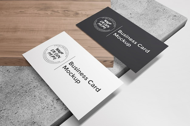 Business card mockup on wood and stone