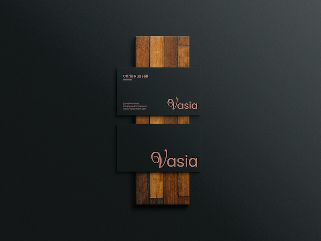 Business card mockup on a wood