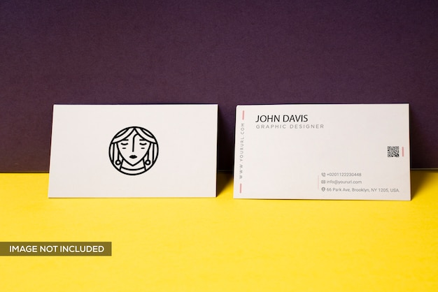 Business card mockup in yellow
