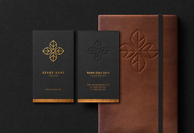 Business card & notebook mockup with gold embossed & debossed effect