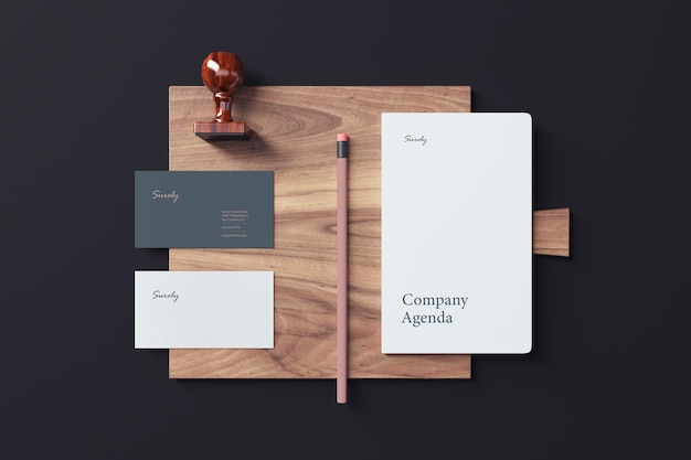 Business card and notebook mockup