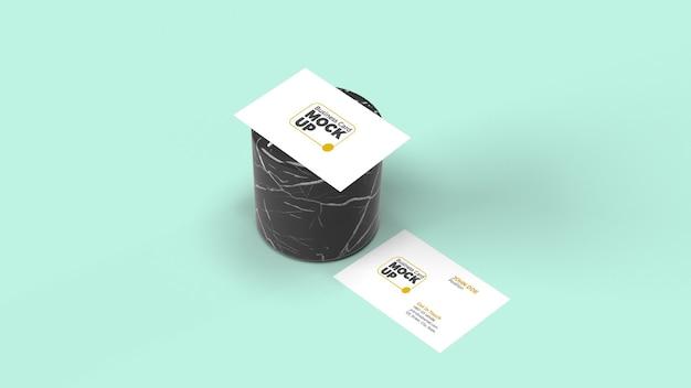 Визитная карточка на мокапе мраморного цилиндра
