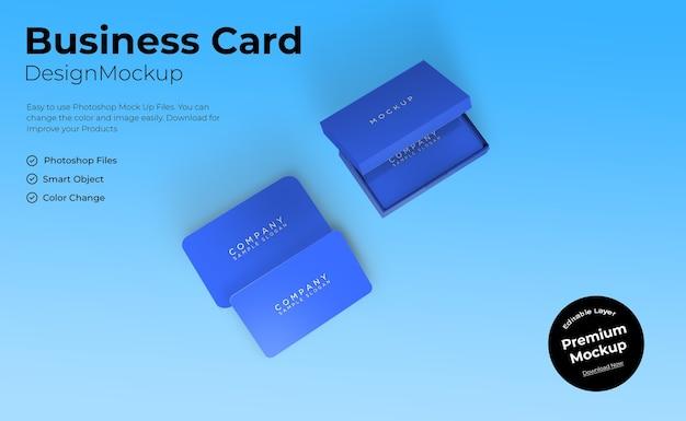 ボックスで編集可能な名刺またはidカードのモックアップテンプレート