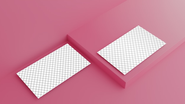 Business card on pink background