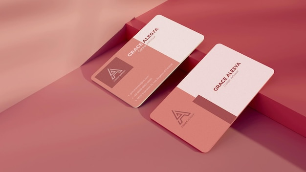 名刺ピンクのモックアップ3dレンダリング
