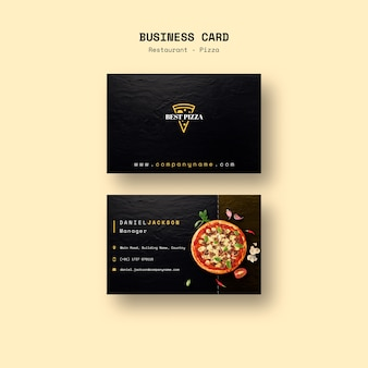Business card for pizza restaurant