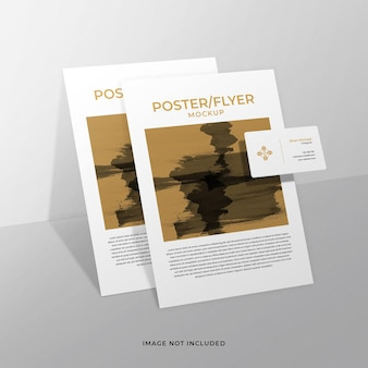 Business card and poster or flyer mockup