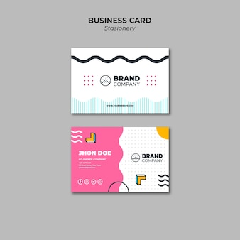 Business card presentation template memphis design