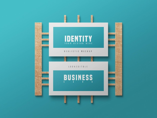 Business card psd mockup with wood