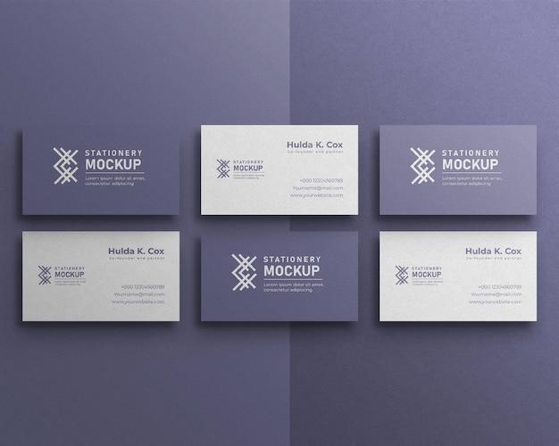Business card set mockup and shadow overlay