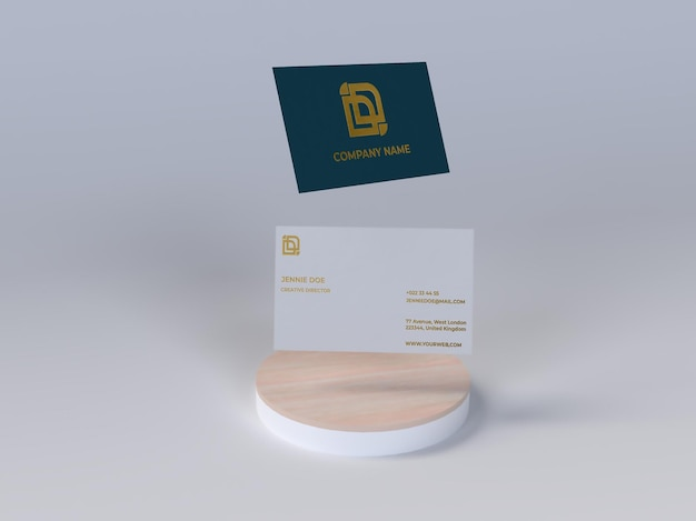 Business card shiny embossed texture flying mockup