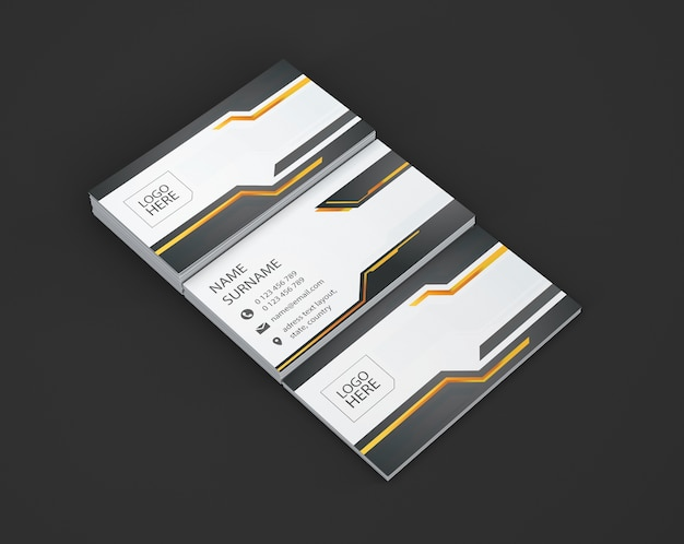 Business card showcase of three