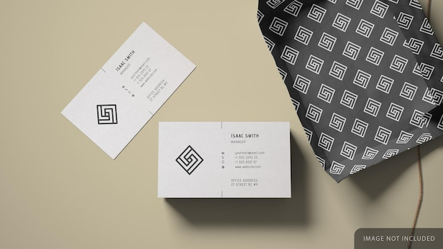 Business card stack mockup with wrapping paper Premium Psd