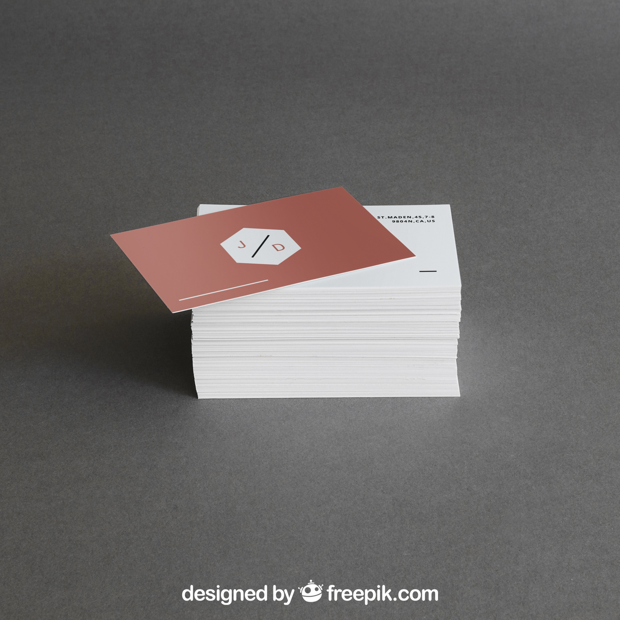 Business card stack mockup