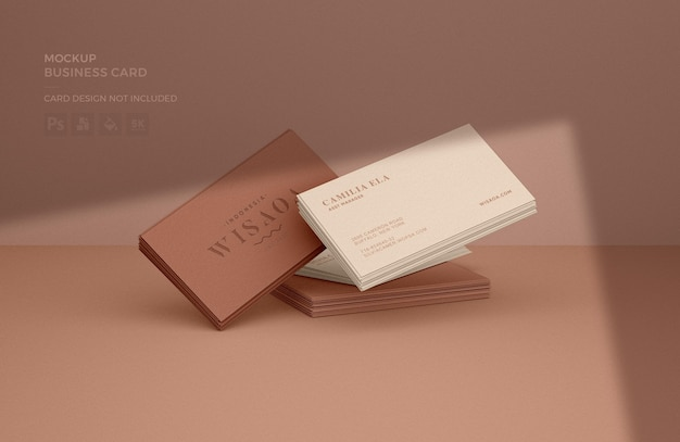 Business card stacks mockup with shadow overlay